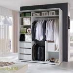 Kleiderschrank Schwebetürenschrank Schlafzimmerschrank LEO (Weiß matt)