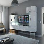 FUTURE 9 Wohnwand Anbauwand Wand Schrank Wohnzimmer Wohnzimmerschrank Hochglanz Weiß Schwarz LED RGB Beleuchtung (9/HG/W/6, LED blau)