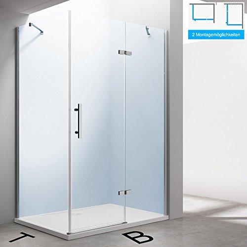 TBH: 90x80x195cm Design Duschkabine Duschabtrennung Ravenna28K, inkl. Duschtasse, ESG-Sicherheitsglas klarglas, inkl. beidseitiger NANO-Beschichtung, Eckdusche