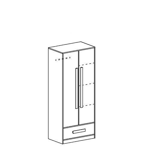 Kleiderschrank GULIVER KinderzimmerJugendzimmer Schrank (weiß / grün hochglanz)