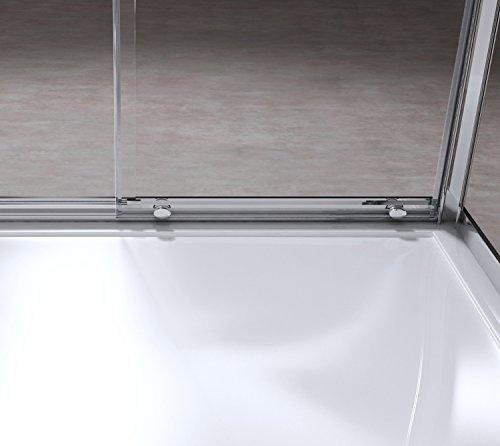 80x110x190 cm Design Duschabtrennung Ravenna12, ESG-Sicherheitsglas klarglas, Schiebetür, Eckdusche, inkl. Nanobeschichtung