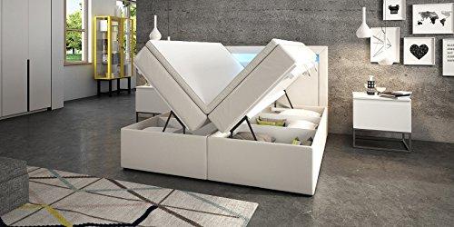 Boxspringbett mit Bettkasten weiß Delia2 LED Beleuchtung Doppelbett Hotelbett Topper Taschenfederkern (160x200cm)