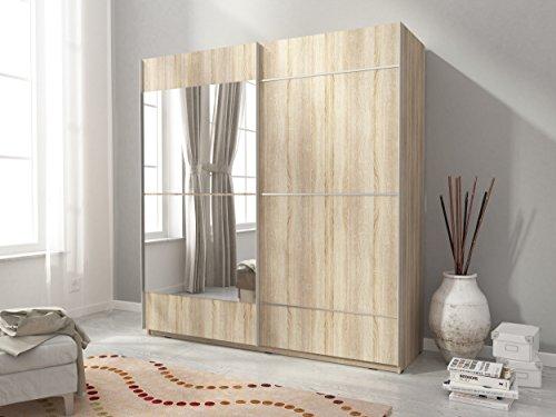 Kleiderschrank Schwebetürenschrank Schlafzimmerschrank MIKA IV mit Spiegel (200/214/60 cm B/H/T, sonoma eiche)