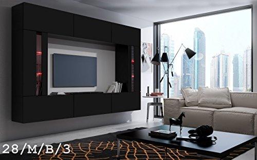 FUTURE 28 Wohnwand Anbauwand Wand Schrank TV-Schrank Wohnzimmer Wohnzimmerschrank Matt Weiß Schwarz LED RGB Beleuchtung (28/M/B/3, Möbel)