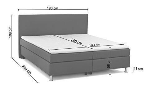 B-famous 150380 Boxspringbett Tom, 206 x 190 x 109 cm, Materialmix feiner Strukturstoff grau mit PU Kunstleder weiß