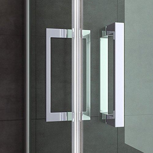 BTH: 75x90x190cm Design Duschabtrennung Ravenna22 mit Doppelschwingtür, ESG-Sicherheitsglas Klarglas, Türgriffe aus Edelstahl, inkl. beidseitiger NANO-Beschichtung