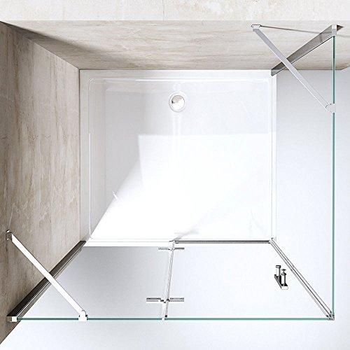 TBH: 90x140x195 cm Design Duschkabine Duschabtrennung Ravenna28K, ESG-Sicherheitsglas klarglas, inkl. beidseitiger NANO-Beschichtung, Eckdusche