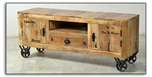 Low-Board aus massivem Mango-Holz mit 2 Türen und Schublade 140x40cm | Crust | Kommode aus Massiv-Holz Antik Finish | Hochwertige TV-Bank aus Massiv-Holz mit Gebrauchsspuren 140cm x 40cm