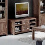 Low-Board aus massivem Sheesham Holz mit 4 Schubladen 148x56 cm | Miaw | Designer Kommode Shisham 5-Gerätefächer natur | Moderne TV-Bank aus Massiv-Holz 148cm x 56cm