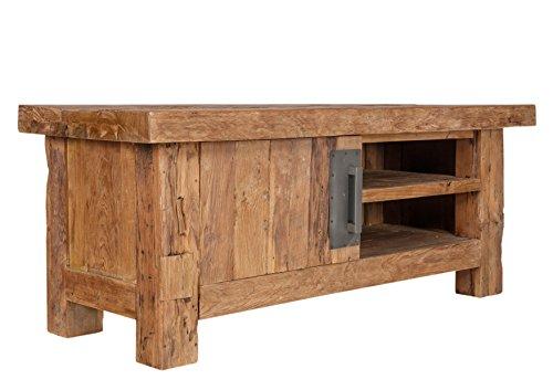 Low-Board aus recyceltem Teak-Holz mit 2 offenen Fächern und Tür 130x50cm   Laroc   Rustikale Kommode in angesagtem Shabby Look   Hochwertige TV-Bank aus Massiv-Holz 130cm x 50cm