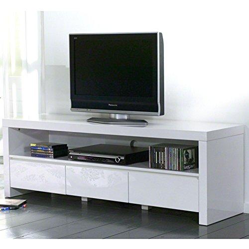 SalesFever TV Board mit 3 Schubladen und offenem Fach in weiß Hochglanz Dean