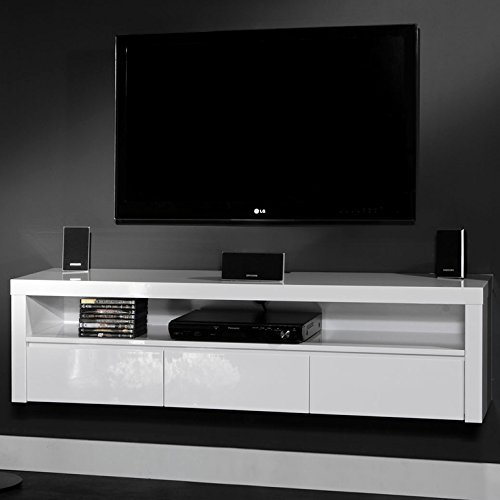 SalesFever TV Hängeschrank mit 3 Schubladen und offenem Fach weiß Hochglanz Comp