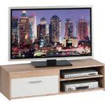 TV-Lowboard Fernsehschrank Fernsehtisch GENIUS   Eiche Sonoma   Weiß matt   120x32x38 cm