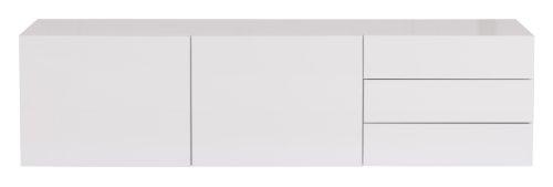 TemaHome TV Tisch mit 2 Türen 3 Schubladen in weiß Hochglanz Glare