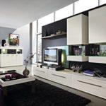 Design Wohnwand 7-teilig, mit Glasvitrinen, - Weiß ML / Esche Grau Nachbildung, Soft Close-Dämpfung, Selbsteinzug, Wohngalerie Montiert