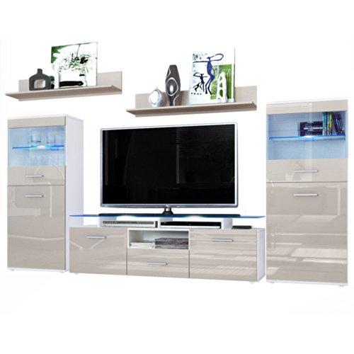 Wohnzimmer Wohnwand Anbauwand Schrankwand Almada, Korpus in Weiß matt / Front in Sandgrau Hochglanz