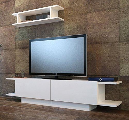 Homidea BRIDE Wohnwand - Weiß- TV Lowboard - Fernsehtisch mit Wandregal in modernem Design