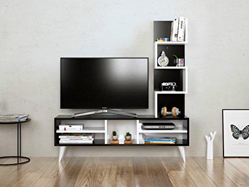 Homidea LILY Wohnwand - TV Lowboard - Fernsehtisch - TV Möbel in modernem Design (Schwarz - Weiß)