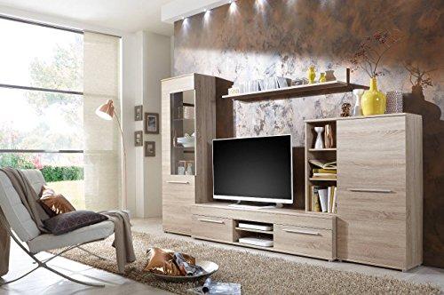 Wohnwand Wohnzimmerschrank Fernseh Schrank Anbauwand TV-Element CANNES in Eiche Sonoma - Made in Germany - (Wohnwand mit Beleuchtung)