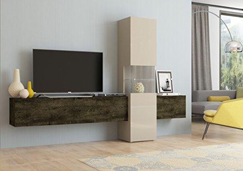Wohnwand   Mediawand   Wohnzimmer-Schrank   Fernseh-Schrank   TV Lowboard   sandfarben/Eiche dunkel   Incontro