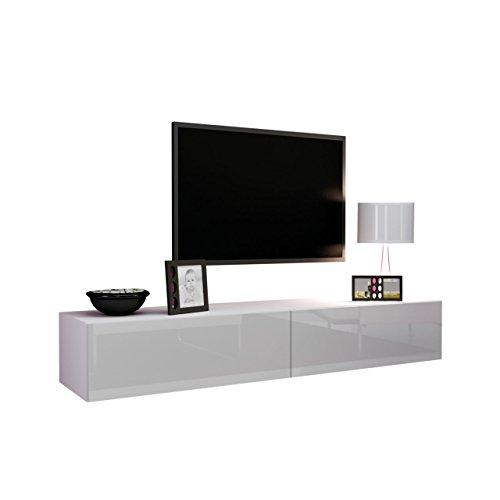 Mirjan24 TV Schrank Vigo, Fernsehschrank, TV Lowboard mit Grifflose Öffnen, Hängeschrank Hochglanz Matt Wohnwand (Länge: 180 cm, Weiß/Weiß Hochglanz)