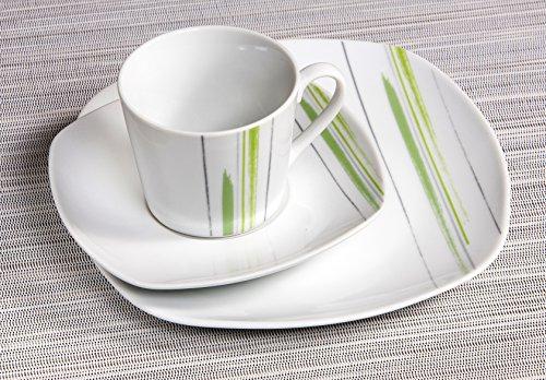 Ritzenhoff & Breker Kaffeeservice Pintura, 18-teilig, Porzellangeschirr, Weiß/Grün