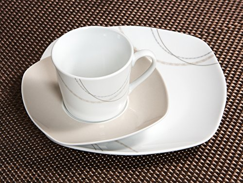 Ritzenhoff & Breker Kaffeeservice Linda, 18-teilig, Porzellangeschirr, Weiß/Creme