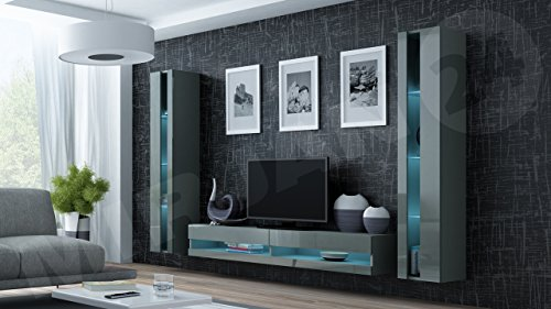 Wohnwand Vigo New III Anbauwand, Design Mediawand, Modernes Wohnzimmer set, Hängeschrank TV Lowboard, Vitrine (ohne Beleuchtung, Grau/Grau Hochglanz)
