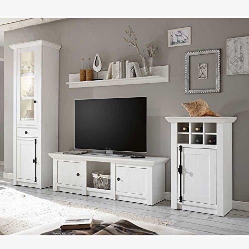 Pharao24 Design Wohnwand im Landhaus Look Pinie Weiß (4-teilig) LED Beleuchtung