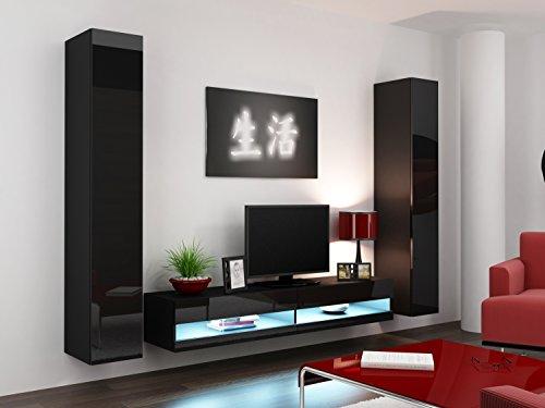 Wohnwand Vigo New IV Anbauwand, Design Mediawand, Modernes Wohnzimmer set, Hängeschrank TV Lowboard (ohne Beleuchtung, Schwarz/Schwarz Hochglanz)