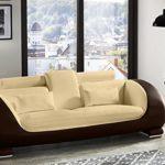 SAM 3-Sitzer Sofa Vigo, creme / braun, Couch aus Kunstleder