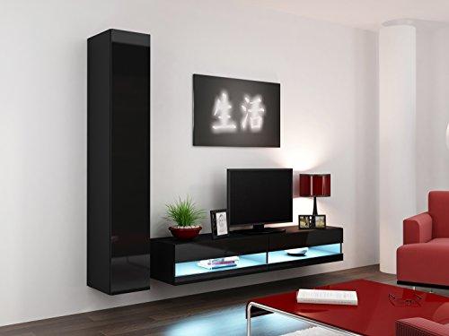 Wohnwand Vigo New IX, Design Mediawand, Modernes Wohnzimmer set, Anbauwand, Hängeschrank TV Lowboard, (mit weißer LED Beleuchtung, Schwarz/Schwarz Hochglanz)