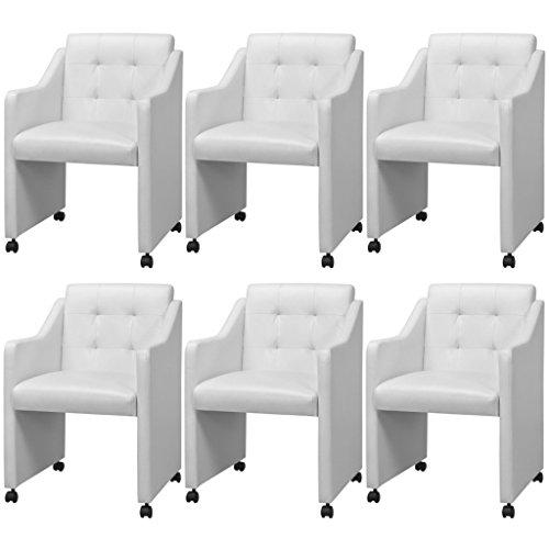 Festnight 6er-Set Essstühle Esszimmerstühle mit Armlehnen Esszimmersessel Küchenstuhl Kunstlederbezug Stuhl-Set 59x57,5x86,5cm Weiß