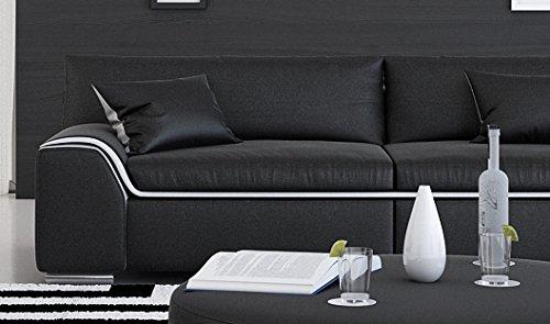 SAM® Design Wohnzimmer Sofa Arica in schwarz mit weißem Akzent ca. 200 cm breit 2-Sitzer designed by Ricardo Paolo® pflegeleichte Oberfläche angenehmer Sitzkomfort zwei Kissen inklusive