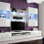 Space–TV Unterschrank/TV steht/PCV–Top Qualität-/TV-Einheit/Hochglanz weiß
