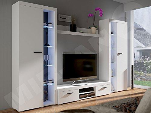 Wohnwand Rango XL, Modernes Wohnzimmer set, Design Anbauwand, Schrankwand, Mediawand, Vitrine, TV Lowboard, (Weiß, mit weißer LED Beleuchtung)
