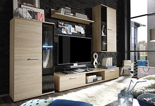 Wohnwand Salsa, Design Mediawand, Modernes Wohnzimmer set, Anbauwand, Hängeschrank, Vitrine, TV Lowboard, (ohne Beleuchtung, Sonoma Eiche)