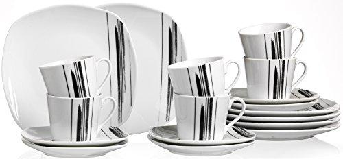 Ritzenhoff & Breker Kaffeeservice Nero, 18-teilig, Porzellangeschirr