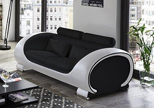 SAM 2-Sitzer Sofa Vigo, schwarz - weiß, Couch aus Kunstleder