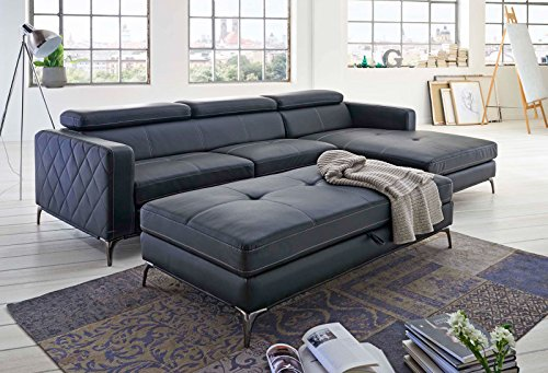 SAM® Design Schlafsofa Dario in anthrazit rechts mit Hocker