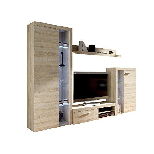 Wohnwand Rango, Design Wohnzimmer set, Modernes Anbauwand, Schrankwand, Vitrine, TV Lowboard, Mediawand, (ohne Beleuchtung, Sonoma Eiche)