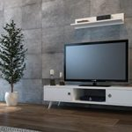 ASPEN Wohnwand - Weiß - TV Lowboard mit Wandregal in modernem Design