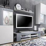 Wohnwand Anbauwand Movie, Korpus in Weiß matt / Fronten in Weiß matt und Avola-Anthrazit mit weißer LED Beleuchtung