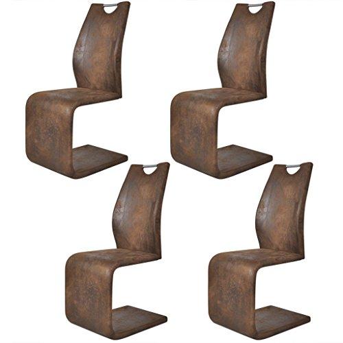 Festnight 4tlg. Set Kunstleder Stühle Freischwinger Essstuhl Esszimmerstühle Küchenstühle mit Griff 42,5x62x104,5cm Braun
