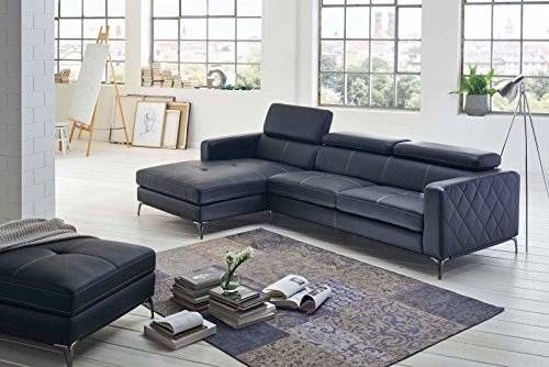 SAM® Design Schlafsofa Dario in anthrazit links mit Hocker