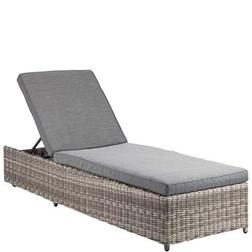 Butlers BLOCK PARTY Liege mit Auflage - 4fach verstellbar - Lounge-Möbel - outdoor - Gartenmöbel - Kunst-Rattan - wetterbeständig - 205 x 65 x 33 cm