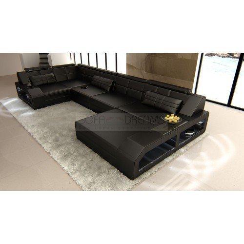 Couchgarnitur Arezzo U-Form schwarz Designer Wohnlandschaft mit LED