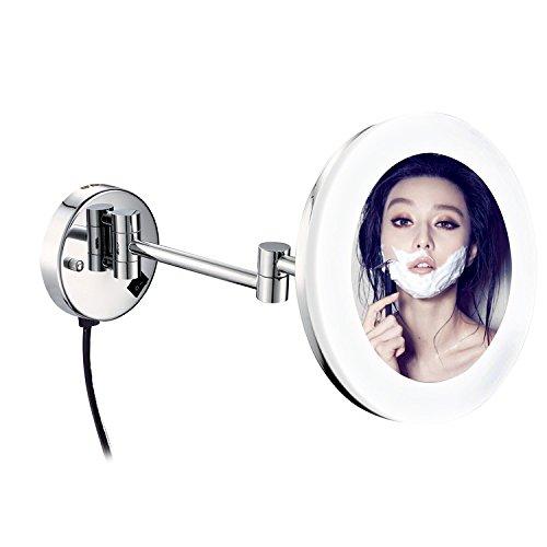 DOWRY Wand LED Kosmetikspiegel Beleuchtet 10/7/5 Fach Vergroesserung,durchmesser 25/21cm,verchromt