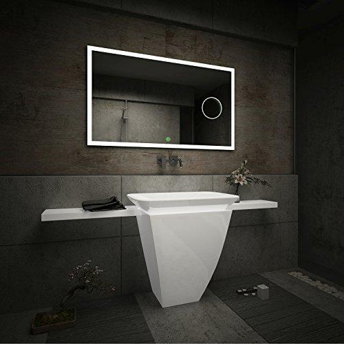 Design Badspiegel mit LED Beleuchtung Wandspiegel Badezimmerspiegel mit Touch Schalter und Vergrößerungsspiegel