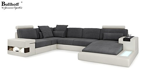 Design Sofa Couch Leder Wohnlandschaft XXL + Stoff U-Form Ecksofa mit LED-Licht Beleuchtung HAMBURG